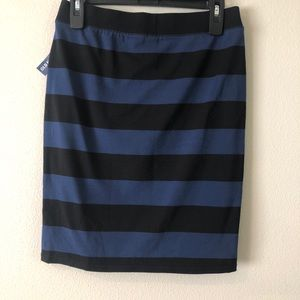 NWT Black and Blue Striped Fitted Skirt